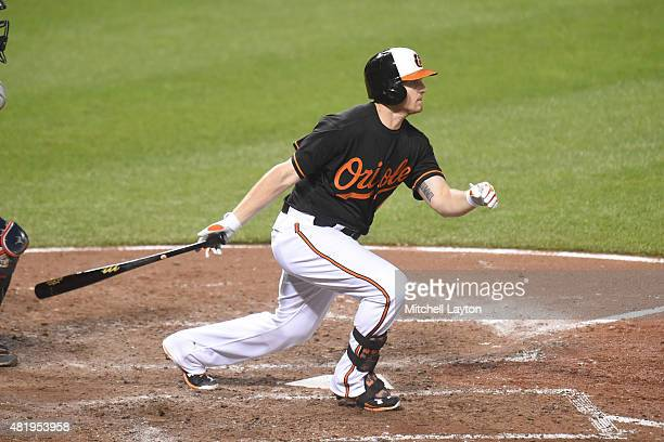 Chris Parmelee of the Baltimore Orioles prepares for a pitchtakes a swingCleveland Indians at Oriole Park at Camden Yards on June 26, 2015 in...