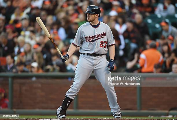 Chris Parmelee of the Minnesota Twins bats against the San Francisco Giants in the top of the first inning at AT&T Park on May 24, 2014 in San...