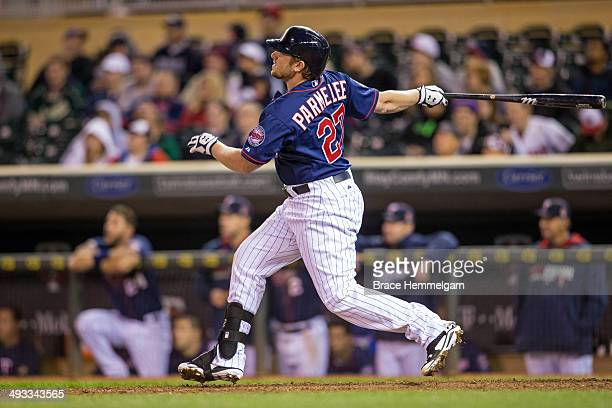 Chris Parmelee of the Minnesota Twins bats and hits a walk-off home run against the Boston Red Sox on May 13, 2014 at Target Field in Minneapolis,...