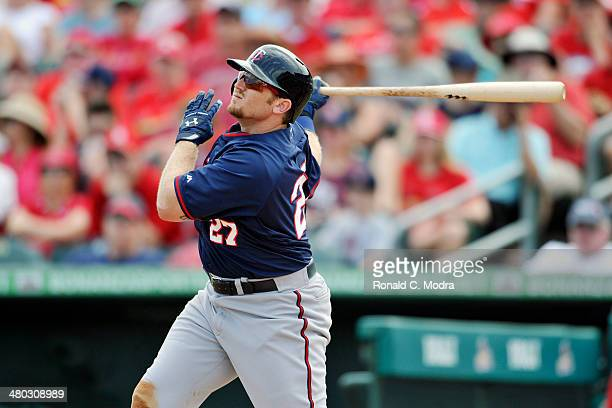 Chris Parmelee of the Minnesota Twins bats during a spring training game against the St. Louis Cardinals at Roger Dean Stadium on March 19, 2014 in...