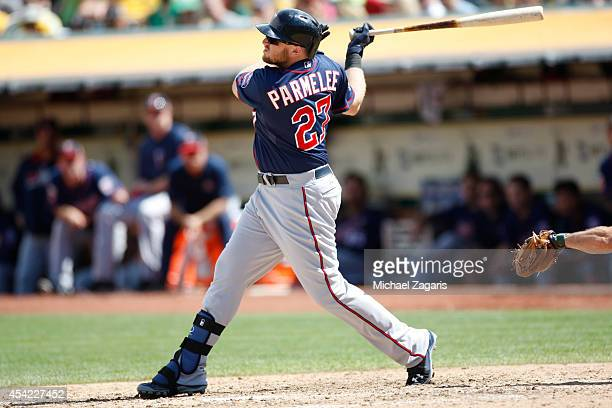 Chris Parmelee of the Minnesota Twins bats during the game against the Oakland Athletics at O.co Coliseum on August 10, 2014 in Oakland, California....