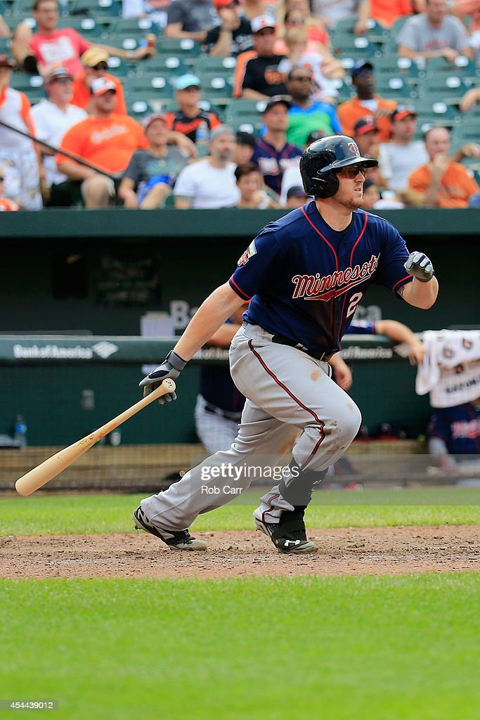 Chris Parmelee #27 of the Minnesota Twins follows his two RBI single against the Baltimore Orioles during the ninth inning of the Twins 12-8 loss at Oriole Park at Camden Yards on August 31, 2014 in Baltimore, Maryland.