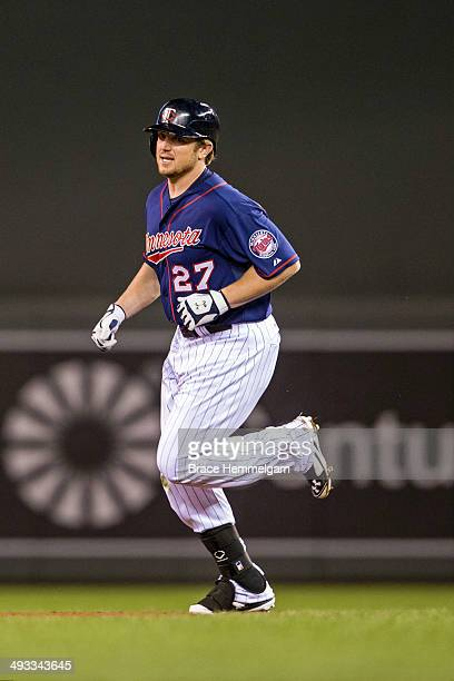 Chris Parmelee of the Minnesota Twins runs against the Boston Red Sox on May 13, 2014 at Target Field in Minneapolis, Minnesota. The Twins defeated...