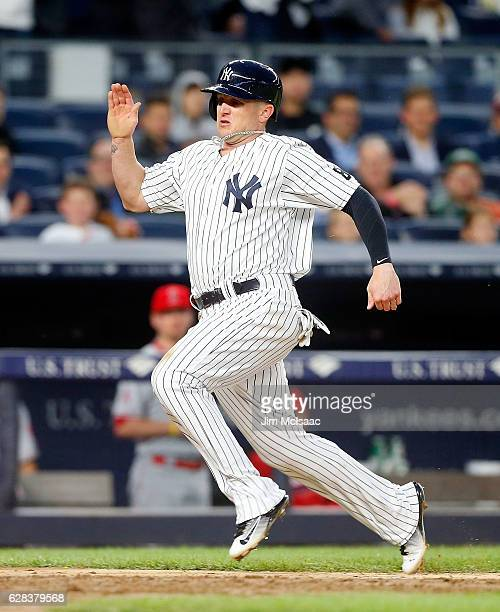 Chris Parmelee of the New York Yankees in action against the Los Angeles Angels at Yankee Stadium on June 8, 2016 in the Bronx borough of New York...
