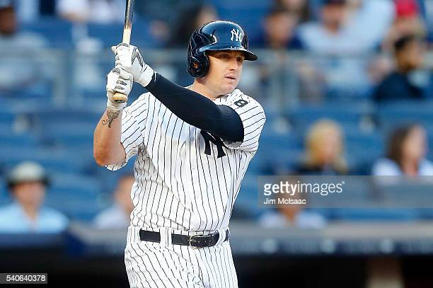 Chris Parmelee of the New York Yankees in action against the Los Angeles Angels of Anaheim at Yankee Stadium on June 9, 2016 in the Bronx borough of...