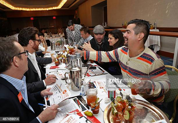 Chris Patino Ted Allen Scott Conant Marc Murphy Chris Santos Alex Guarnaschelli and Aaron Sanchez with Absolut Vodka and VOSS Artesian Water from...
