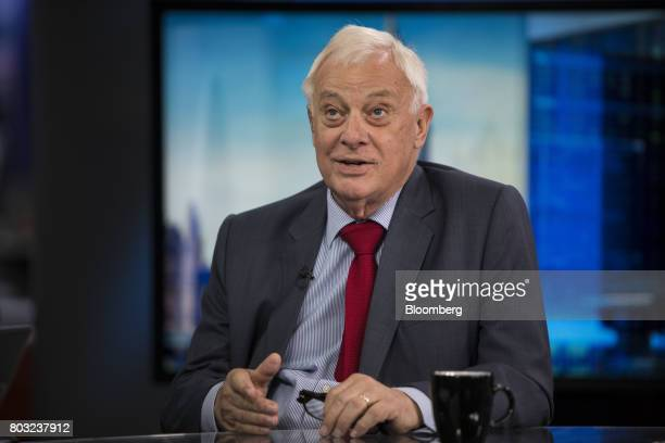 Chris Patten Hong Kong's last colonial governor gestures while speaking during a Bloomberg Television interview in London UK on Thursday June 29 2017...