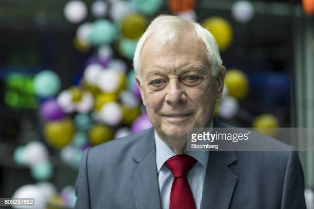 Chris Patten Hong Kong's last colonial governor poses for a photograph following a Bloomberg Television interview in London UK on Thursday June 29...
