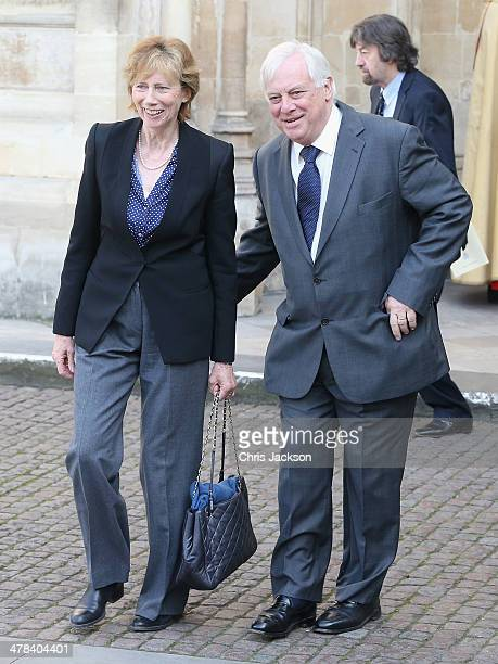 Chris Patten leaves a memorial service for Sir David Frost at Westminster Abbey on March 13 2014 in London England