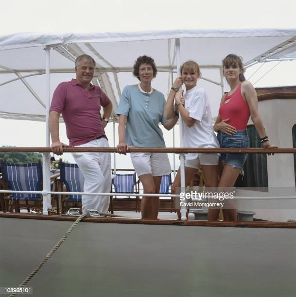 Chris Patten the new Governor of Hong Kong with his wife Lavender and daughters Alice and Laura in Hong Kong 1st August 1992