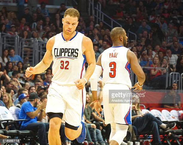 Chris Paul and Blake Griffin of LA Clippers are in action during an NBA game between Los Angeles Clippers vs Washington Wizards at Staples Center Los...