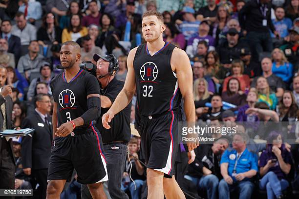 Chris Paul and Blake Griffin of the Los Angeles Clippers look on during the game against the Sacramento Kings on November 18 2016 at Golden 1 Center...