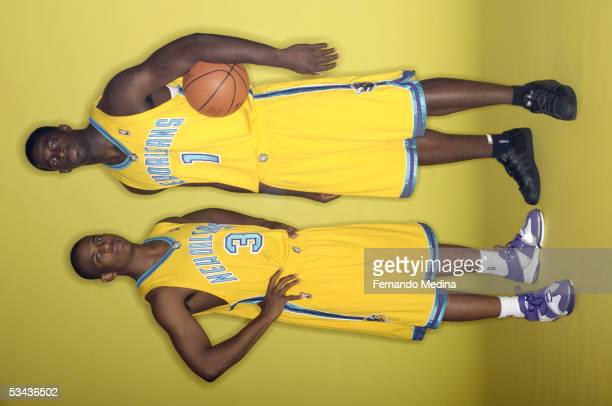 Chris Paul and Brandon Bass of the New Orleans Hornets poses during a portrait session with the 2005 NBA rookie class on August 10, 2005 at the MSG...