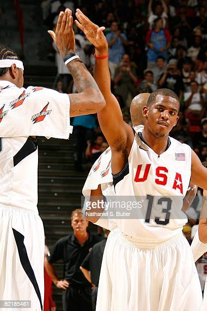 Chris Paul and Carmelo Anthony of the United States Men's Senior National Basketball Team celebrate during the game against the Canadian Men's Senior...