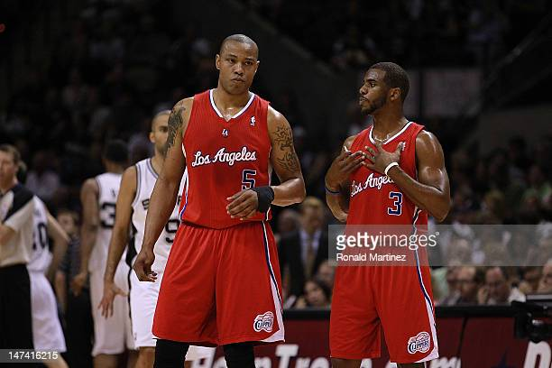 Chris Paul and Caron Butler of the Los Angeles Clippers in Game Two of the Western Conference Semifinals of the 2012 NBA Playoffs at ATT Center on...