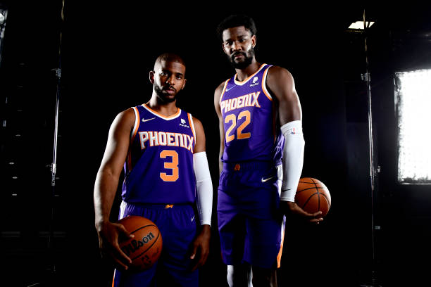 Chris Paul and Deandre Ayton of the Phoenix Suns pose for a portrait during NBA Media Day on September 27 at the Footprint Center in Phoenix,...