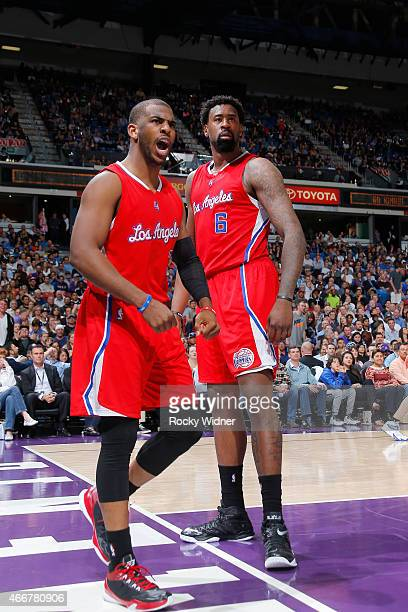 Chris Paul and DeAndre Jordan of the Los Angeles Clippers during the game against the Sacramento Kings at Sleep Train Arena on March 18 2015 in...