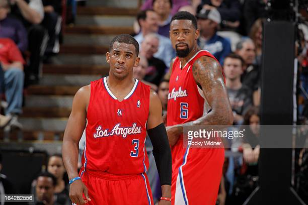 Chris Paul and DeAndre Jordan of the Los Angeles Clippers in a game against the Sacramento Kings on March 19 2013 at Sleep Train Arena in Sacramento...