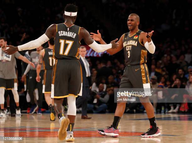 Chris Paul and Dennis Schroder of the Oklahoma City Thunder in action against the New York Knicks at Madison Square Garden on March 06 2020 in New...