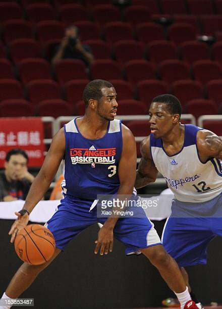 Chris Paul and Eric Bledsoe of the Los Angeles Clippers work out during the practice at the MasterCard Center during the 2012 NBA China games on...