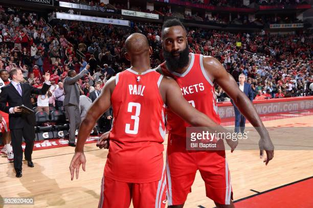 Chris Paul and James Harden of the Houston Rockets after the game against the LA Clippers on March 15 2018 at the Toyota Center in Houston Texas NOTE...