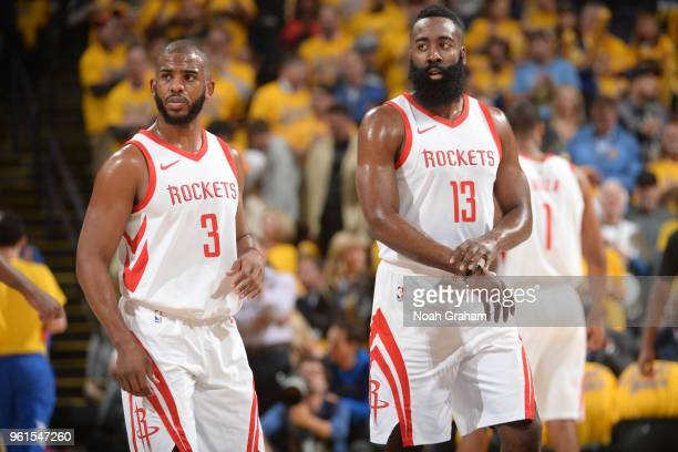 Chris Paul and James Harden of the Houston Rockets during the game against the Golden State Warriors in Game Four of the Western Conference Finals of...
