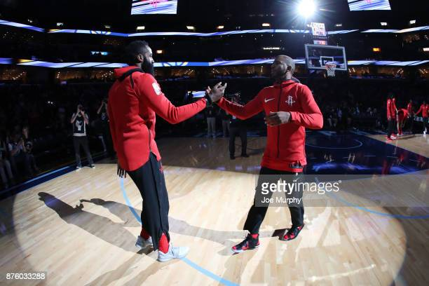 Chris Paul and James Harden of the Houston Rockets shake hands before the game against the Memphis Grizzlies on November 18 2017 at FedExForum in...