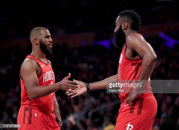 Chris Paul and James Harden of the Houston Rockets slap hands during a 111106 loss to the Los Angeles Lakers at Staples Center on February 21 2019 in...