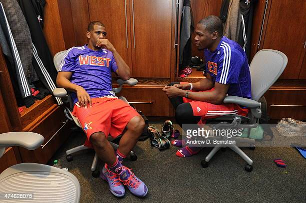 Chris Paul and Kevin Durant of the Western Conference in the lockerroom before the game against the Eastern Conference during the 2014 NBA AllStar...