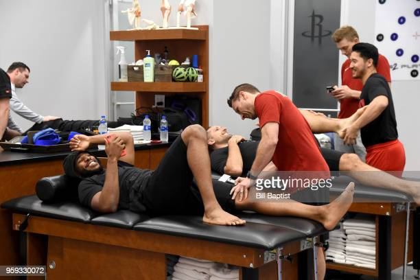 Chris Paul and Ryan Anderson of the Houston Rockets in the training room before the game against the Golden State Warriors in Game Two of the Western...