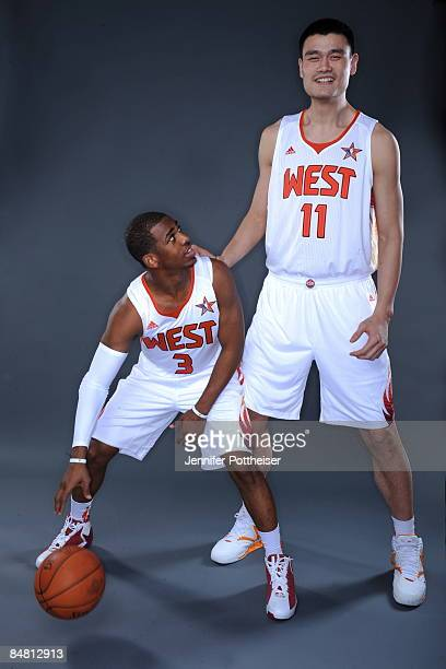 Chris Paul and Yao Ming of the Western Conference poses for a portrait prior to the 2009 NBA AllStar Game on February 15 2009 at the US Airways Arena...