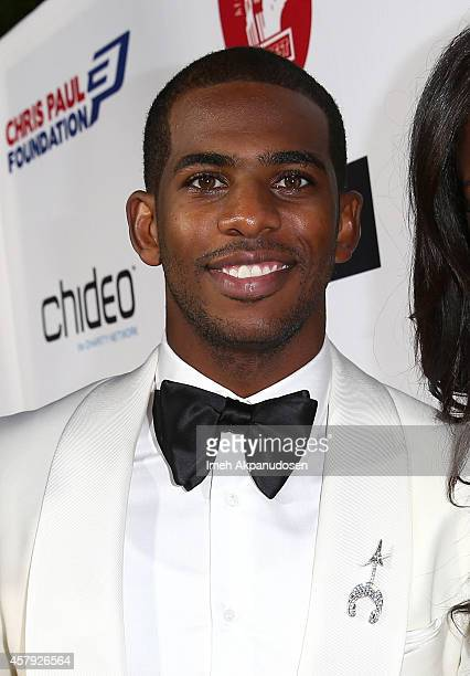 Chris Paul arrives for The CP3 Foundation's Celebrity Server Dinner presented by Apollo Jets at Mastro's Steakhouse on October 26 2014 in Beverly...