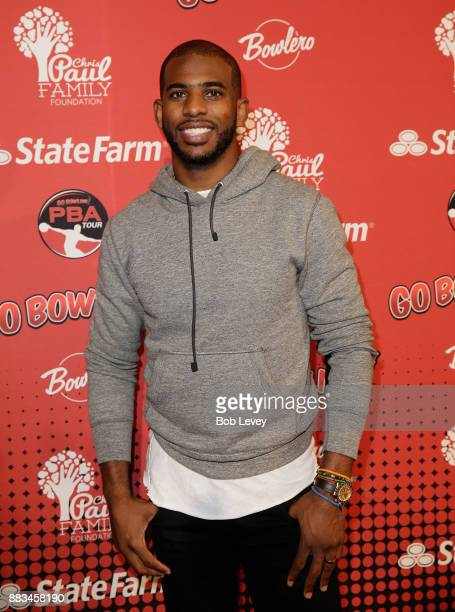 Chris Paul attends the State Farm Chris Paul PBA Celebrity Invitational at the Bowlero Woodlands on November 30 2017 in The Woodlands Texas