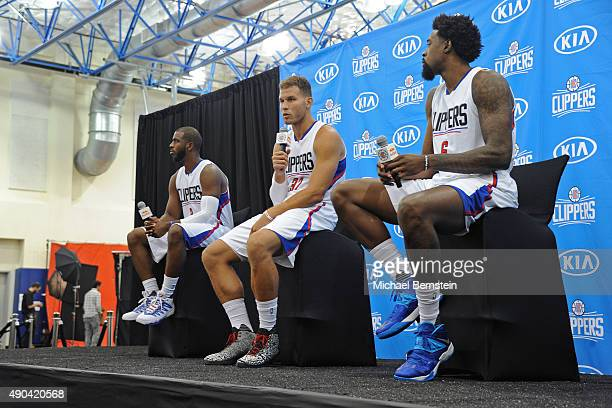 Chris Paul Blake Griffin and DeAndre Jordan of the Los Angeles Clippers talk to the media during media day at the Los Angeles Clippers Training...