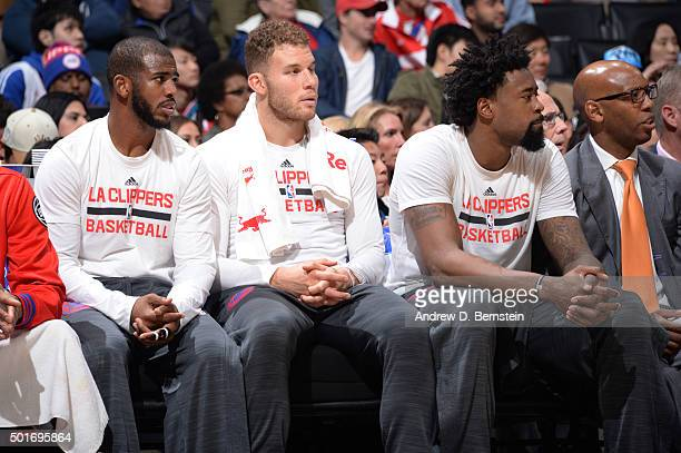Chris Paul Blake Griffin and DeAndre Jordan of the Los Angeles Clippers during the game against the Milwaukee Bucks on December 16 2015 at STAPLES...
