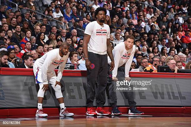 Chris Paul DeAndre Jordan and Blake Griffin of the Los Angeles Clippers are seen before the game against the Memphis Grizzlies on April 12 2016 at...
