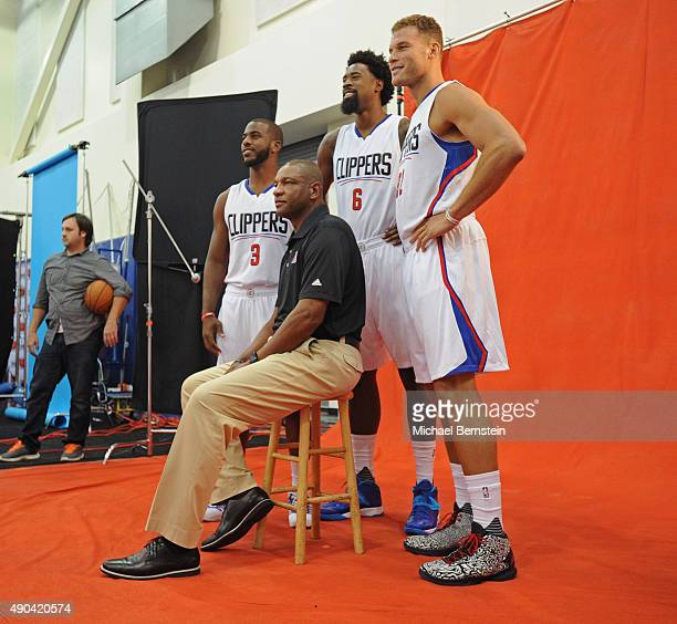 Chris Paul DeAndre Jordan Blake Griffin and Doc Rivers of the Los Angeles Clippers pose for a portrait during media day at the Los Angeles Clippers...