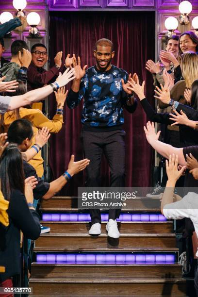 Chris Paul greets the audience during 'The Late Late Show with James Corden' Monday April 3 2017 On The CBS Television Network
