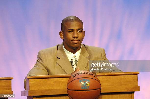 Chris Paul guard for the New Orleans Hornets waits for the drawing of the 2006 NBA Draft Lottery on May 23 2006 at the NBA Studios in Secaucus New...