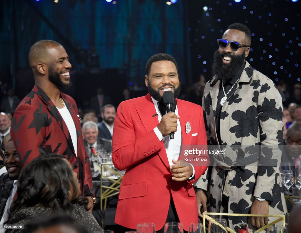 Chris Paul, host Anthony Anderson and James Harden speak in the audience at the 2018 NBA Awards at Barkar Hangar on June 25, 2018 in Santa Monica, California.