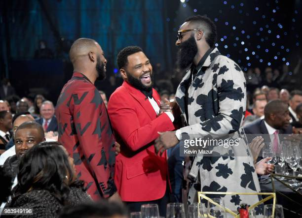 Chris Paul, host Anthony Anderson and James Harden speak in the audience at the 2018 NBA Awards at Barkar Hangar on June 25, 2018 in Santa Monica,...