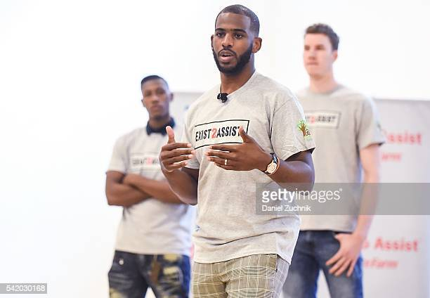 Chris Paul Kris Dunn and Jakob Poeltl attend the unveiling with NBA Cares and State Farm of NYC Assist a Teen Learning Center at Educational Alliance...