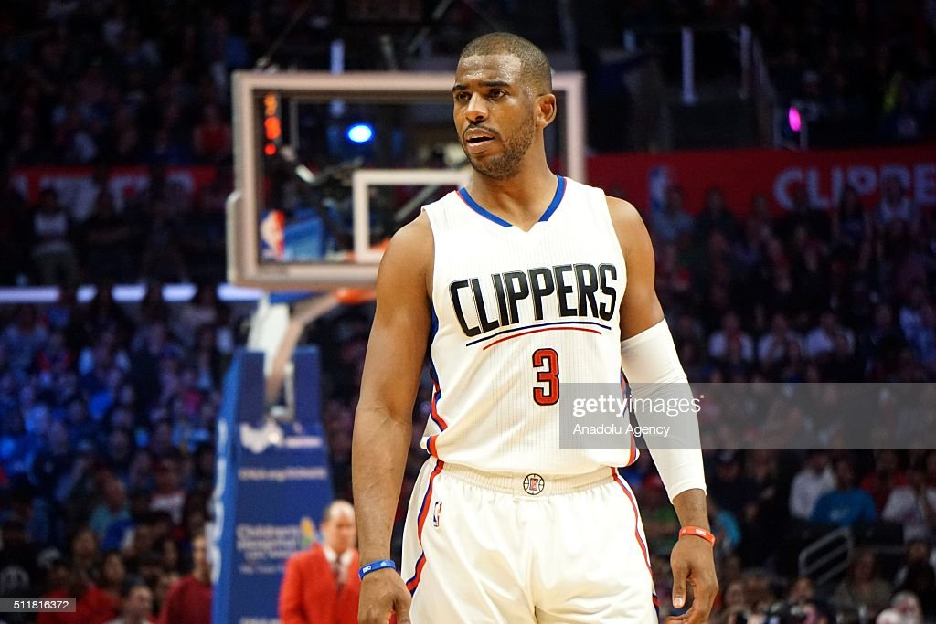 Chris Paul of LA Clippers reacts during NBA basketball game between Los Angeles Clippers and Phoenix Sunsat Staples Center in Los Angeles, CA, United States on February 22, 2016.