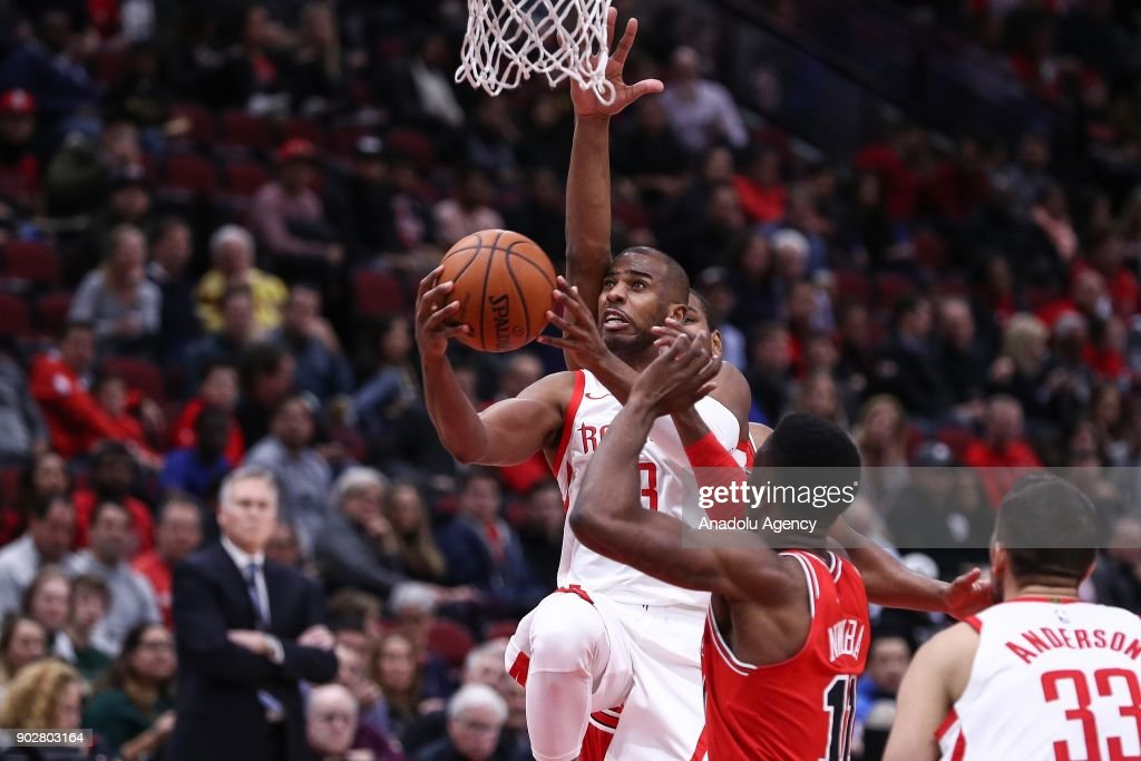 Chris Paul (3) of Houston Rockets in action during the NBA game between Chicago Bulls and Houston Rockets, on January 9, 2018 in Chicago, United States.