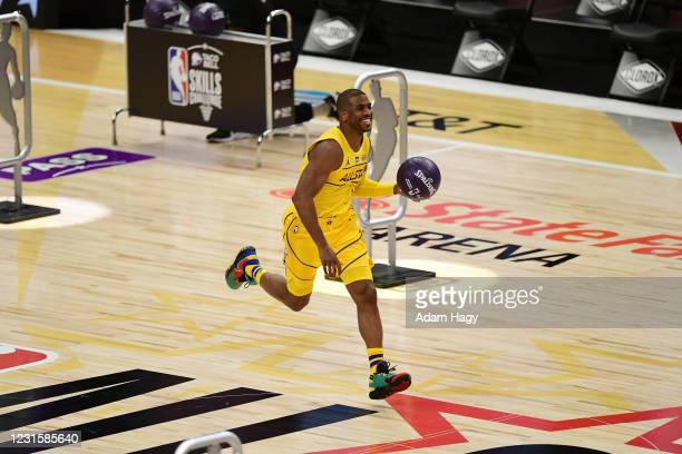 Chris Paul of Team LeBron dribbles the ball during the Taco Bell Skills Challenge as part of 2021 NBA All Star Weekend on March 7, 2021 at State Farm...