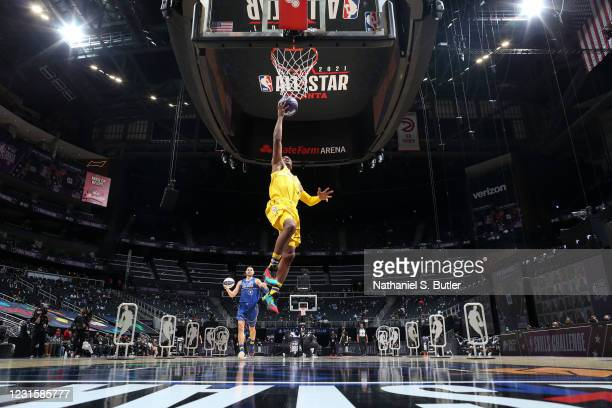 Chris Paul of Team LeBron drives to the basket during the Taco Bell Skills Challenge as part of 2021 NBA All Star Weekend on March 7, 2021 at State...
