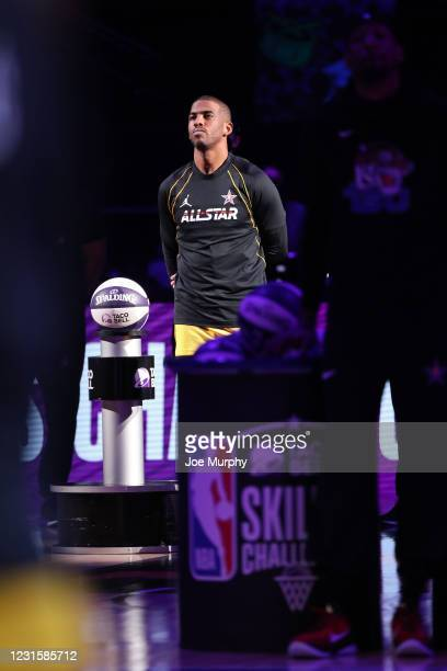 Chris Paul of Team LeBron is introduced during the Taco Bell Skills Challenge as part of 2021 NBA All Star Weekend on March 7, 2021 at State Farm...