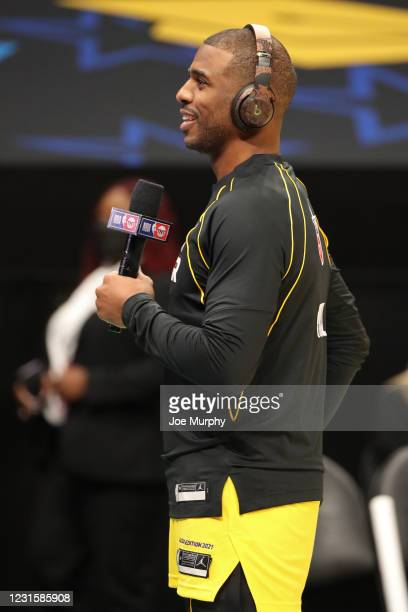 Chris Paul of Team LeBron speaks to the media during the Taco Bell Skills Challenge as part of 2021 NBA All Star Weekend on March 7, 2021 at State...