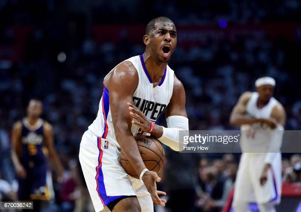 Chris Paul of the LA Clippers argues his foul call during the first half against the Utah Jazz in Game Two of the Western Conference Quarterfinals...