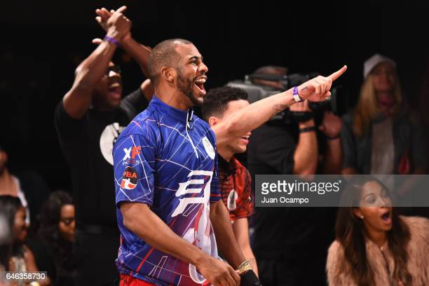 Chris Paul of the LA Clippers cheers at the State Farm CP3 PBA Celebrity Invitational hosted by Los Angeles Clippers allStar guard Chris Paul on...